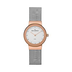 Skagen - Ladies rose gold tone steel watch 358srsc