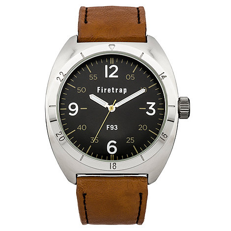 Firetrap - Men+s brown strap watch with black dial