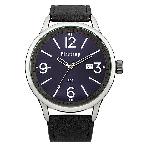 Firetrap - Men+s black strap watch with blue dial