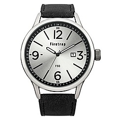 Firetrap - Men's black strap watch with silver dial