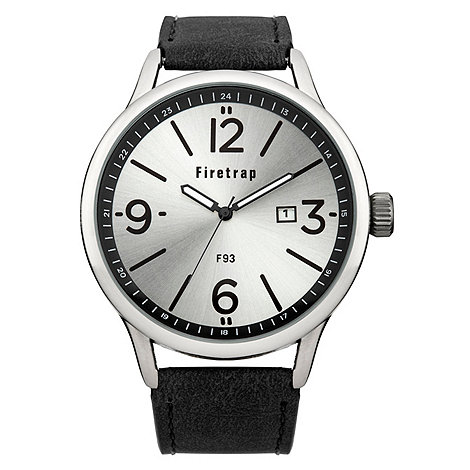 Firetrap - Men+s black strap watch with silver dial