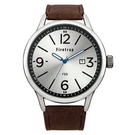 Firetrap - Men+s brown strap watch with silver dial
