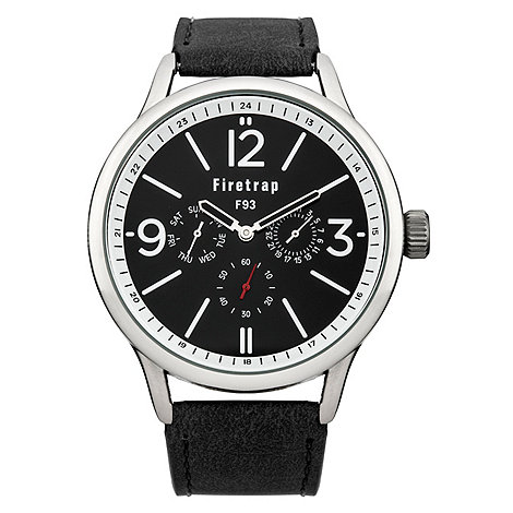 Firetrap - Men+s black strap watch with black dial
