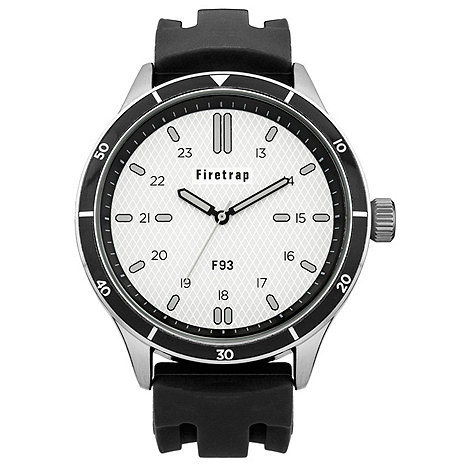 Firetrap - Men+s black silicone strap watch with silver dial