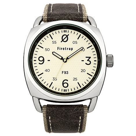 Firetrap - Men+s grey canvas strap watch with cream dial