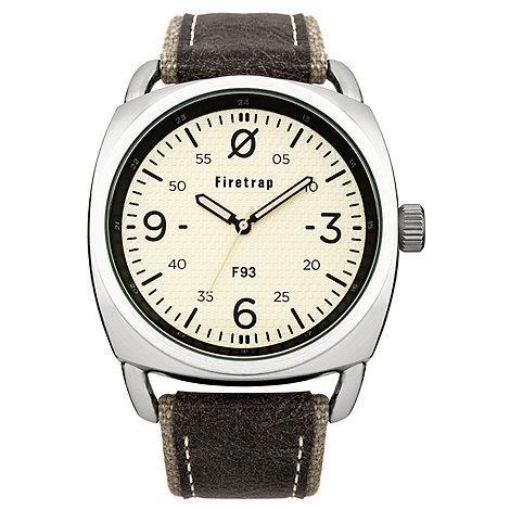 Firetrap - Men+s grey canvas strap watch with cream dial