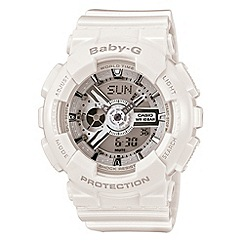 Casio - Ladies world time white resin strap watch