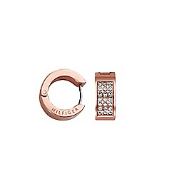 Tommy Hilfiger - ladies stainless steel, rose gold IP pave earrings