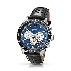 Sekonda - Men's black leather strap chronograph watch