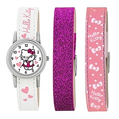 Hello Kitty - Kids' interchangeable  PU pink, pink glitter and white straps analogue watch