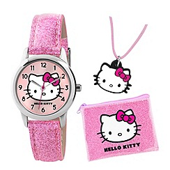 Hello Kitty - Kids' pink necklace, purse and analogue watch gift set