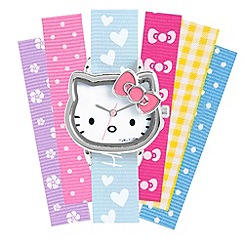 Hello Kitty - Kids' interchangeable patterned multicolour ribbon straps with analogue dial