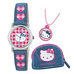 Hello Kitty - Kids' pink and blue denim necklace, purse and analogue watch gift set