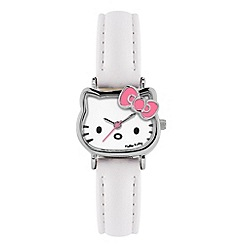 Hello Kitty - Kids' white PU strap with analogue dial