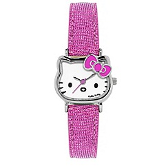 Hello Kitty - Kids' pink glitter PU strap analogue watch