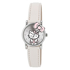Hello Kitty - Kids' white PU strap analogue watch with pink bow detailed dial