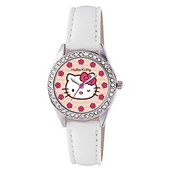 Hello Kitty - Kids' white PU strap analogue watch with stone set dial