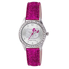 Hello Kitty - Kids' pink glitter PU strap analogue watch with stone set dial