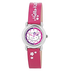 Hello Kitty - Kids' dark pink PU strap time teacher analogue watch