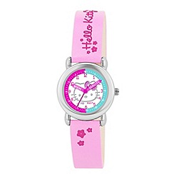 Hello Kitty - Kids' light pink strap time teacher analogue watch