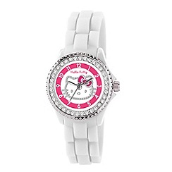 Hello Kitty - Kids' white silicon strap with stone set dial analogue watch