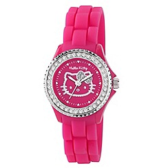Hello Kitty - Kids' pink silicon strap with pink stone set dial analogue watch