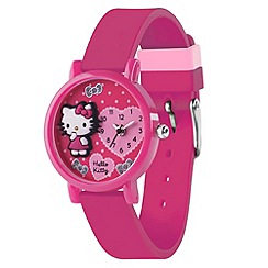 Hello Kitty - Kids' dark pink silicon strap with 3D dial analogue watch