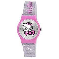 Hello Kitty - Kids' silver glitter clear PU strap with pink analogue dial