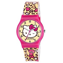 Hello Kitty - Kids' brown yellow and pink patterned PU strap analogue watch