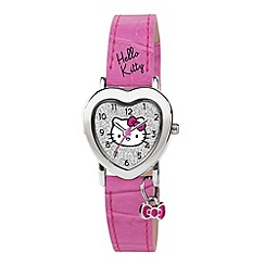 Hello Kitty - Kids' pink PU strap with silver heart shape dial and bow charm analogue watch