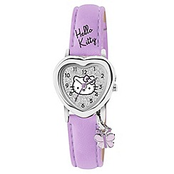Hello Kitty - Kids' purple PU strap with silver heart shape dial and butterfly charm analogue watch