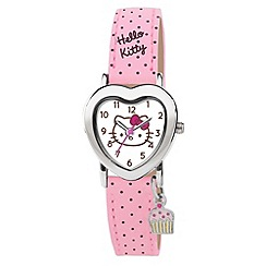 Hello Kitty - Kids' pink polka dot PU strap with silver heart shape dial and cupcake charm analogue watch