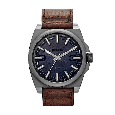 Diesel - Men+s brown leather strap watch