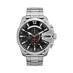 Diesel - Men's 'Mega chief' black dial & silver bracelet watch