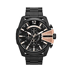 Diesel - Men's stainless steel bracelet rose gold detailing chronograph watch
