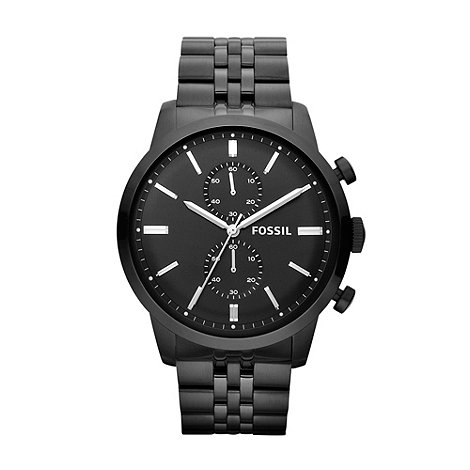 Fossil - Men+s black stainless steel bracelet watch