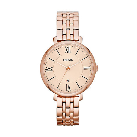 Fossil - Ladies rose stainless steel Roman numeral dial watch