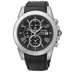 Seiko - Men's solar chronograph watch with leather strap