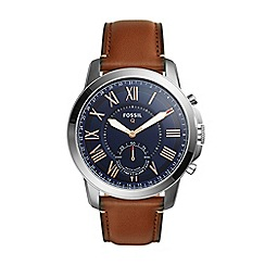 Fossil - Grant tan leather strap hybrid smart watch