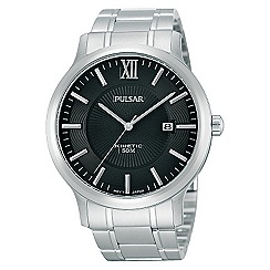 Pulsar - Men's stainless steel black kinetic watch