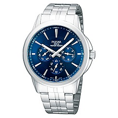 Pulsar - Men's stainless steel blue chronograph watch