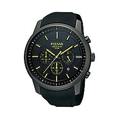 Pulsar - Men's black textured chronograph watch