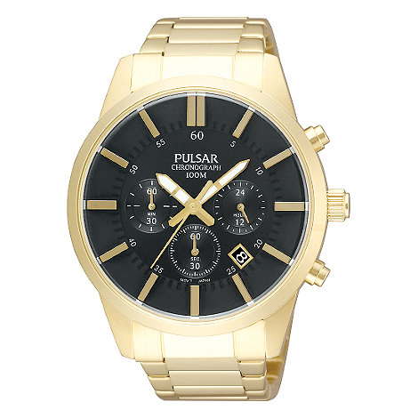 Pulsar - Men+s gold plated chronograph watch
