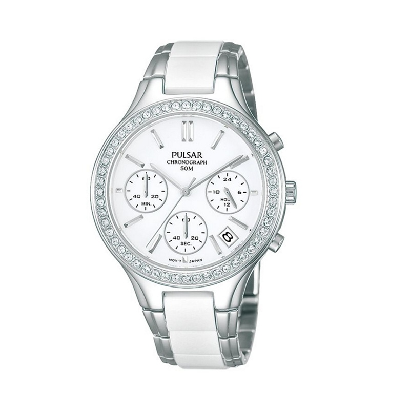 Pulsar - Ladies Stainless Steel Chronograph Watch Pt3305x1 ...