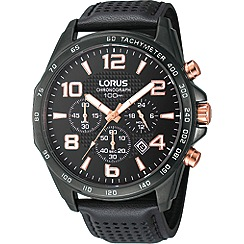 Lorus - Men's black ion plated chronograph watch