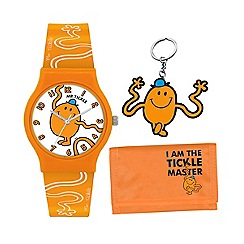 Mr Men - Kids' orange Mr Tickle PU strap analogue watch wallet and key ring gift set