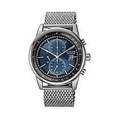 Citizen - Men's mesh chronograph silver watch