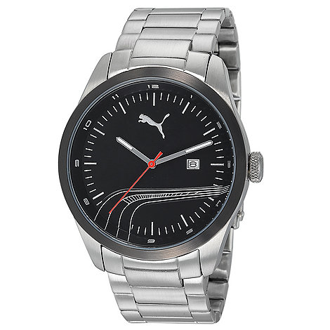 Puma - Men+s stainless steel watch with black dial and stainless steel bracelet