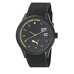 Puma - Men's stainless steel watch with black dial and black PU strap