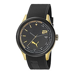 Puma - Men's stainless steel watch with black dial and black strap